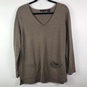 Jeanne Pierre cotton quarter sleeve V neck sweater